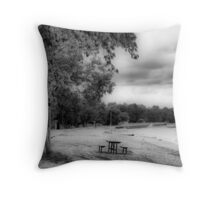 """Winnipeg Beach - Immediately After the """"Possible Shark Attack"""" Warning was Posted!!! Throw Pillow"""