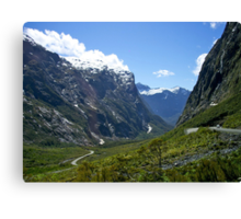 Road, Milford Sound, South Island, New Zealand. Canvas Print