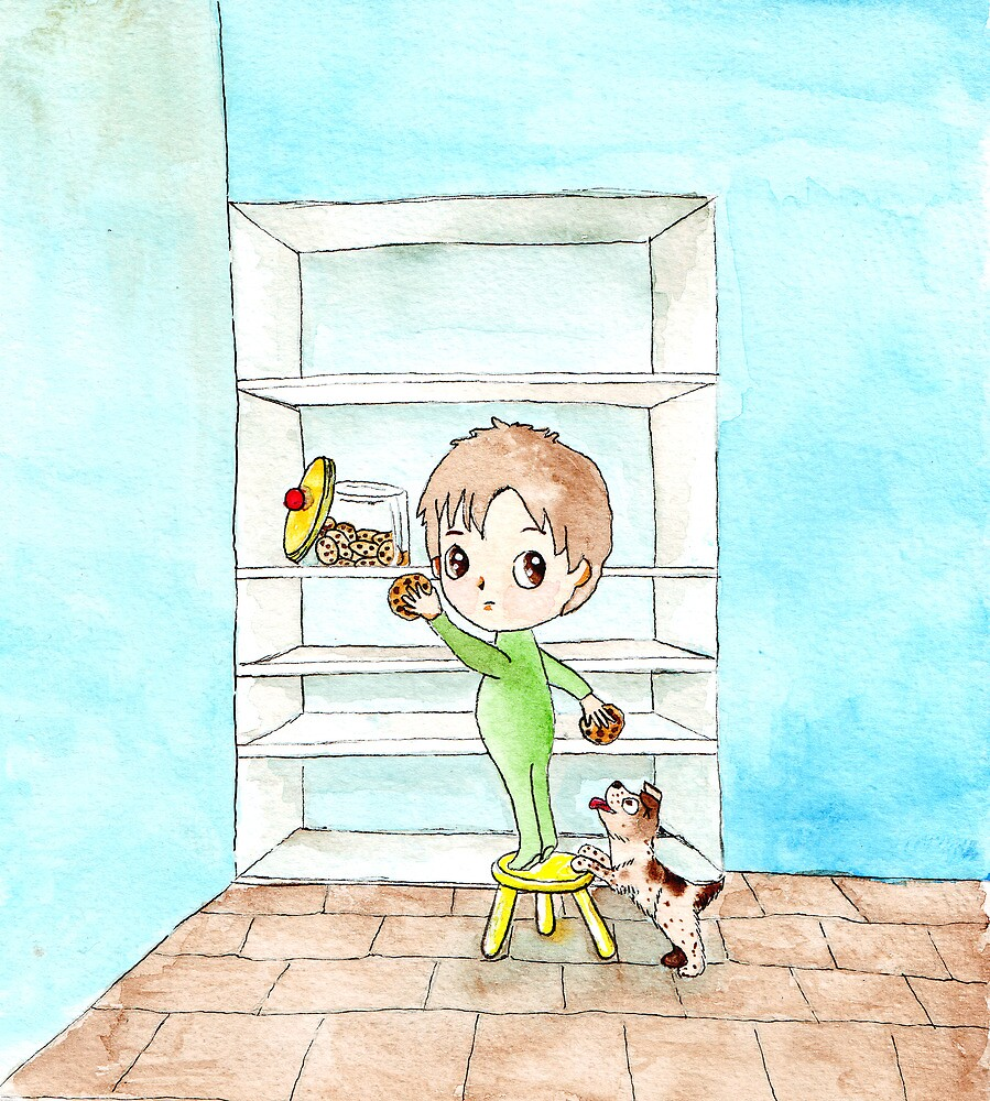 Sneaky - little boy's midnight snack by dinkydivas