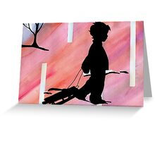 boy with sled Greeting Card