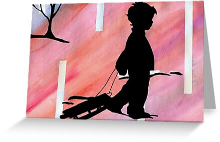 boy with sled by Leeanne Middleton