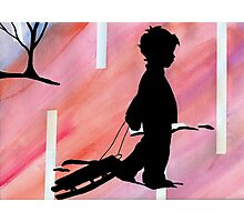 boy with sled Photographic Print