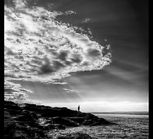 Man looking out to sea by RustyChains