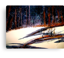 Landscape...On a Snowy Evening Canvas Print