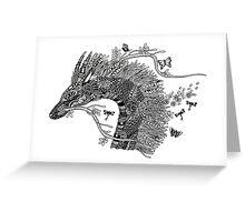 Haku The River Spirit Black and White Doodle Art Greeting Card