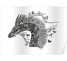 Haku The River Spirit Black and White Doodle Art Poster