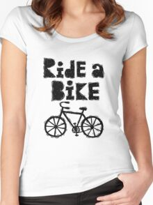 Ride a Bike - woody Women's Fitted Scoop T-Shirt