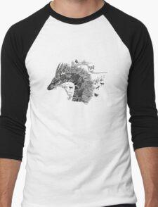 Haku The River Spirit Black and White Doodle Art Men's Baseball ¾ T-Shirt
