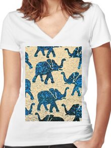 Elephant Walk Abstract Women's Fitted V-Neck T-Shirt