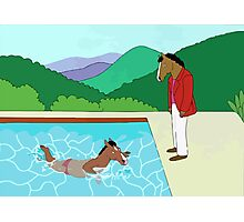 Portrait of a Horseman (Pool with two horses) Photographic Print