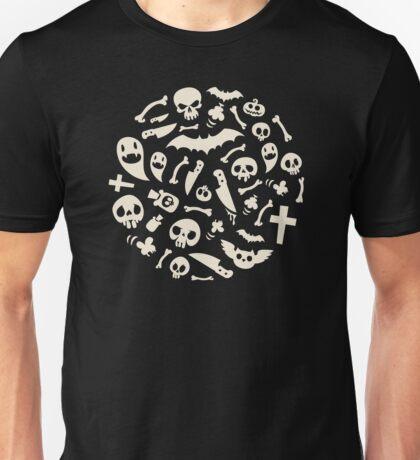 Halloween Symbols Pattern Contrast Unisex T-Shirt