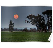 Full Moonrise in Twilight Poster