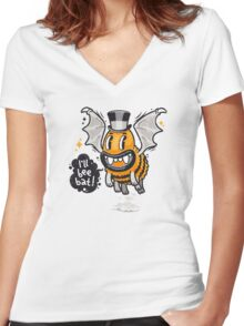 Cartoon Monster I'll Bee Bat Women's Fitted V-Neck T-Shirt