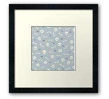 Cartoon Skulls with Hearts on Light Blue Background Seamless Pattern  Framed Print