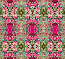 Pink Floral Fusion Kaleidoscope  by Circe Lucas