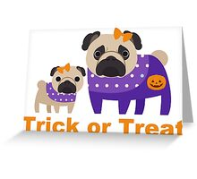 Trick or Treat Halloween Pugs in Purple Greeting Card
