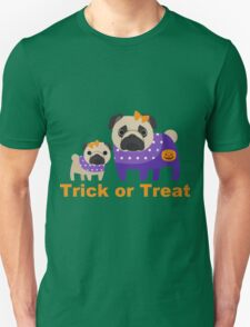 Trick or Treat Halloween Pugs in Purple T-Shirt
