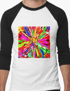 Dahlia Psychedelic Red Abstract Men's Baseball ¾ T-Shirt