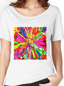Dahlia Psychedelic Red Abstract Women's Relaxed Fit T-Shirt