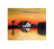 sunset windmill  Art Print