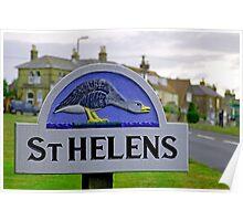 Village Sign, St Helens Poster