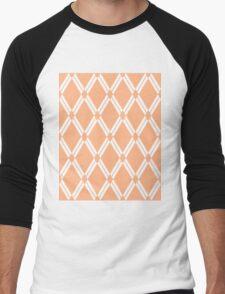 Peach Argyle Diamonds Men's Baseball ¾ T-Shirt