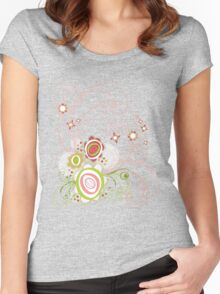 Sweet Groovy Pink Wild Blooms Women's Fitted Scoop T-Shirt