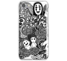 Ghibli inspired Black and White Doodle Art iPhone Case/Skin