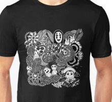 Ghibli inspired Black and White Doodle Art Unisex T-Shirt