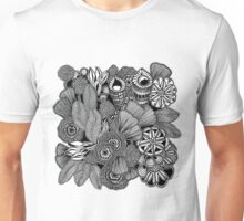 Rainforest Black and White Doodle Art Unisex T-Shirt