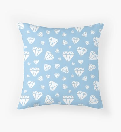 Light Blue Faceted Diamonds Pattern Throw Pillow