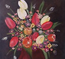 tulips with daisies by CarlouiiArt