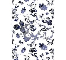 Inked Toile Wild Rose in Blue Photographic Print