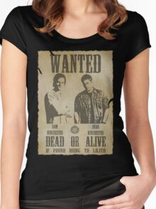 Supernatural - Wanted Dead or Alive  Women's Fitted Scoop T-Shirt