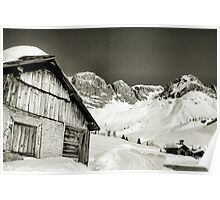 Landscape from a dolomites chalet in the snow Poster