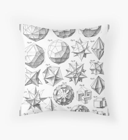 Max Bruckner 1906 polyhedra & icosahedron models Throw Pillow