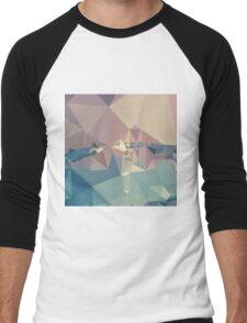 Opera Mauve Abstract Low Polygon Background Men's Baseball ¾ T-Shirt