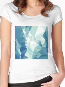 Turquoise Green Abstract Low Polygon Background Women's Fitted Scoop T-Shirt