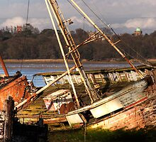 Rotting Hulks on River Orwell at Pin Mill, Suffolk by Christopher Cullen