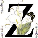 """Z"" is for Zantedeschia and Butterfly by Constance Widen"
