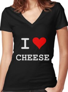 I Love Cheese Women's Fitted V-Neck T-Shirt