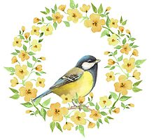 Cute small bird and yellow flowers by Gribanessa
