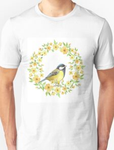 Cute small bird and yellow flowers Unisex T-Shirt
