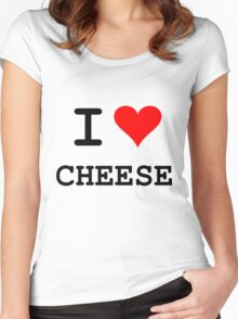 I Love Cheese (dark lettering) Women's Fitted Scoop T-Shirt