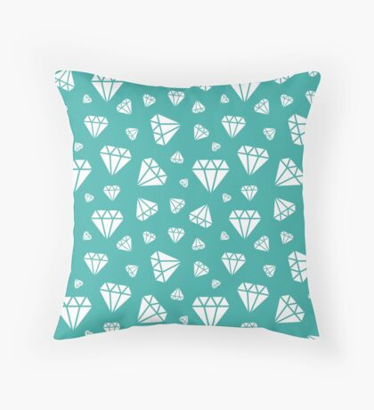 Teal Faceted Diamonds Pattern Throw Pillow