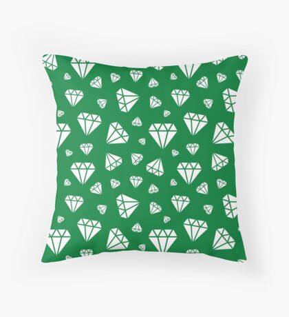 Green Faceted Diamonds Pattern Throw Pillow