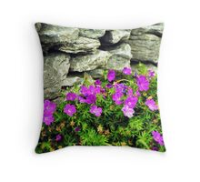 Bloody Crane's Bill and drystone wall Throw Pillow