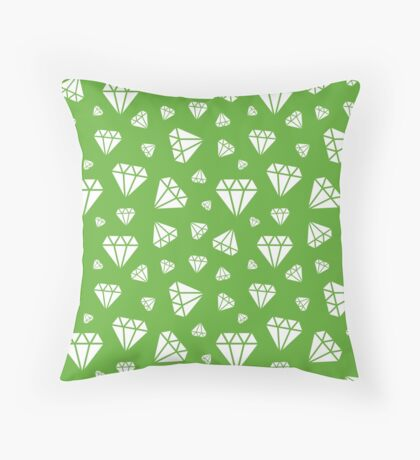 Grass Green Faceted Diamonds Pattern Throw Pillow