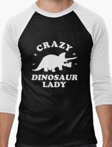 Crazy Dinosaur Lady Men's Baseball ¾ T-Shirt