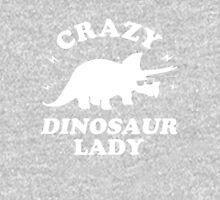 Crazy Dinosaur Lady Womens Fitted T-Shirt